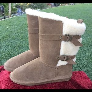 Bearpaw Winter Boots Sheep Skin Suede Buckles 9